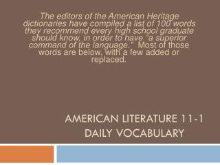 AMERICAN LITERATURE 11-1 DAILY VOCABULARY