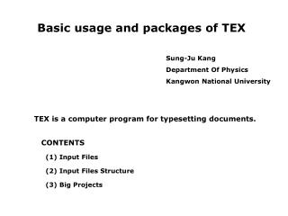 Basic usage and packages of TEX