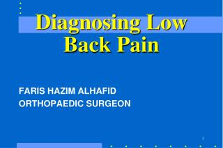 Diagnosing Low Back Pain