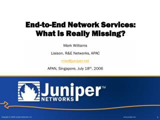 End-to-End Network Services:  What is Really Missing?