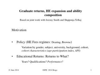 Graduate returns, HE expansion and ability composition