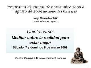 Quinto curso: Meditar sobre la realidad para estar mejor Sábado  7 y domingo 8 de marzo 2009