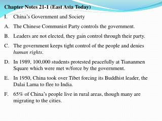 Chapter Notes 21-1 (East Asia Today) China's Government and Society
