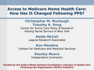 Access to Medicare Home Health Care: How Has It Changed Following PPS?