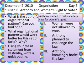 "December 7, 2010  	Organization 	      Day 2 ""Susan B. Anthony and Women's Right to Vote?"