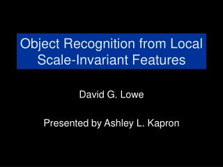 Object Recognition from Local Scale-Invariant Features