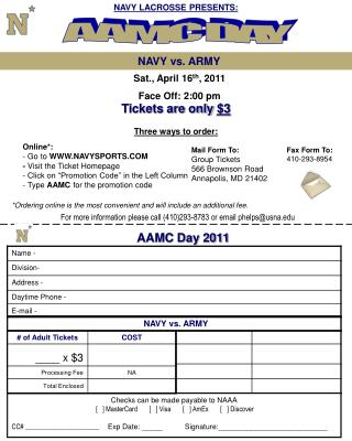 Mail Form To: Group Tickets                 566 Brownson Road Annapolis, MD 21402