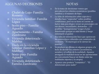 Algunas decisiones