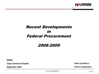 Recent Developments  in  Federal Procurement 2008-2009
