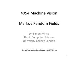 4054 Machine Vision Markov Random Fields