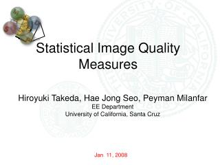Statistical Image Quality Measures
