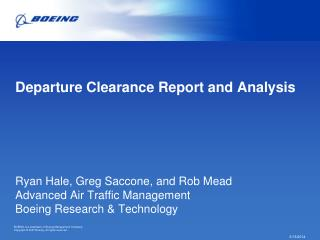 Departure Clearance Report and Analysis