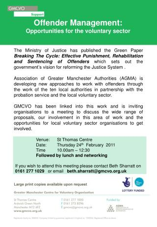 Offender Management: Opportunities for the voluntary sector