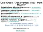 Ohio Grade 7 Achievement Test   Math May 2007