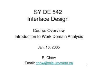 SY DE 542 Interface Design