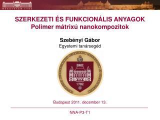 SZERKEZETI ÉS FUNKCIONÁLIS ANYAGOK Polimer mátrixú nanokompozitok Szebényi Gábor