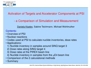 Activation of Targets and Accelerator Components at PSI