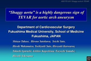 """Shaggy aorta"" is a highly dangerous sign of TEVAR for aortic arch aneurysm"