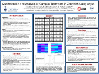 Quantification and Analysis of Complex Behaviors in  Zebrafish  Using  Argus