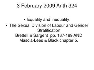3 February 2009 Anth 324