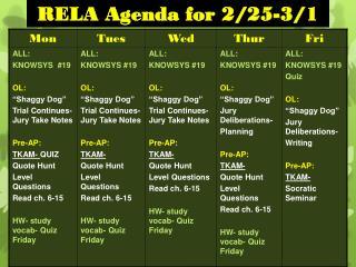 RELA Agenda for 2/25-3/1