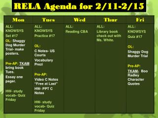 RELA Agenda for 2/11-2/15