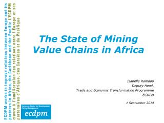 The State of Mining Value Chains in Africa