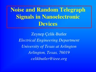 Noise and Random Telegraph Signals in Nanoelectronic Devices