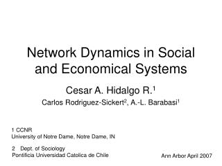 Network Dynamics in Social and Economical Systems