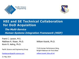 HSI and SE Technical Collaboration for DoD Acquisition