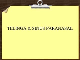 TELINGA  SINUS PARANASAL