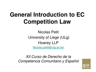 General Introduction to EC Competition Law