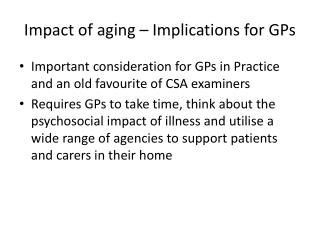 Impact of aging – Implications for GPs