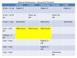 Mahesh Pattabiraman – Spring 2012 Schedule