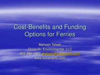 Cost-Benefits and Funding Options for Ferries