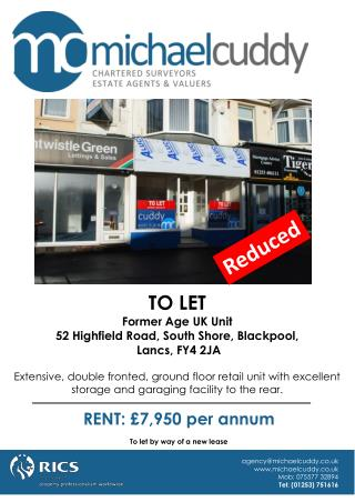 TO LET Former Age UK Unit 52 Highfield Road, South Shore, Blackpool,  Lancs, FY4 2JA