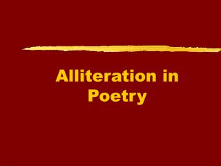 Alliteration in Poetry