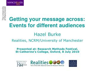 Getting your message across: Events for different audiences