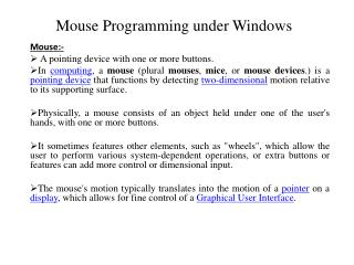 Mouse Programming under Windows