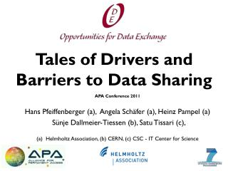 Tales of Drivers  and  Barriers  to  Data  S haring