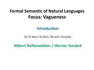 Formal Semantic of Natural Languages Focus: Vagueness