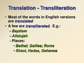 Translation - Transliteration