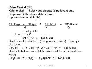 Kalor Reaksi (∆H)