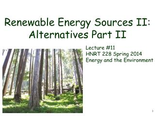 Renewable Energy Sources II: Alternatives Part II