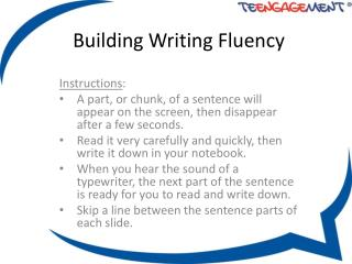 Building Writing Fluency
