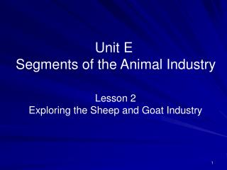 Unit E  Segments of the Animal Industry