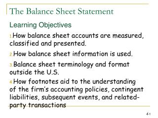 The Balance Sheet Statement