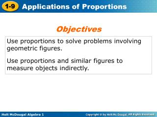Use proportions to solve problems involving geometric figures.