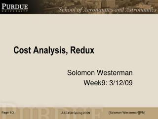 Cost Analysis,  Redux