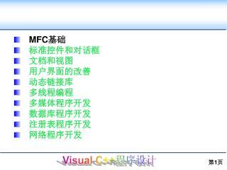 MFC 基础 标准控件和对话框 文档和视图 用户界面的改善 动态链接库 多线程编程 多媒体程序开发 数据库程序开发 注册表程序开发 网络程序开发
